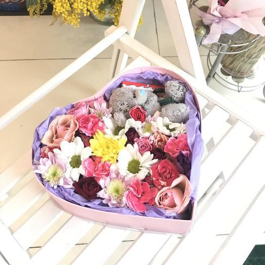 Сердце Тедди: букеты цветов на заказ Flowwow