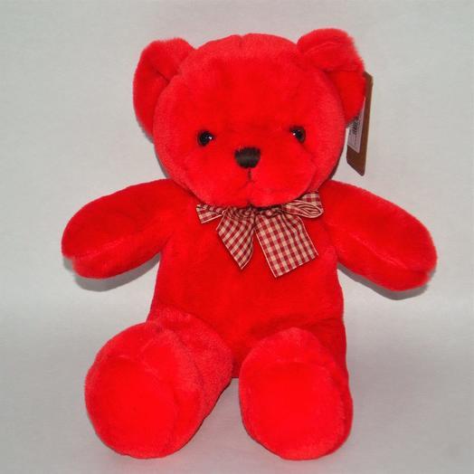 Мягкая игрушка медведь Валентин, 34 см, красный, W107-4: букеты цветов на заказ Flowwow