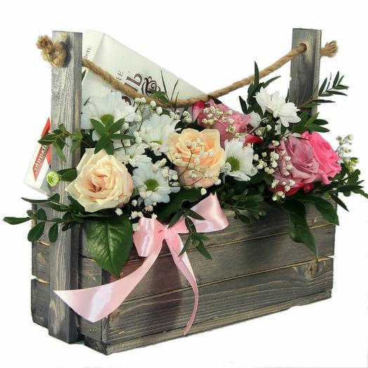 Кашпо с цветами и зефиром