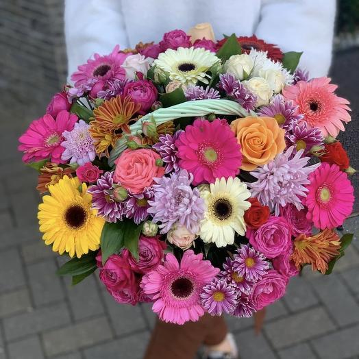 Basket of Gerberas, Chrysanthemums and Roses