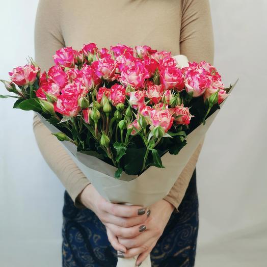 """Букет """"Смузи 11"""" из красно-белых кустовых роз"""