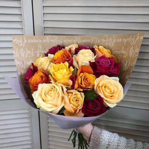 Роза 17 шт микс