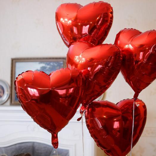 5 фольгированных сердец
