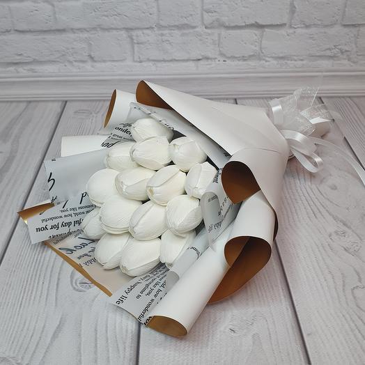 Букет из 15 мыльных тюльпанов