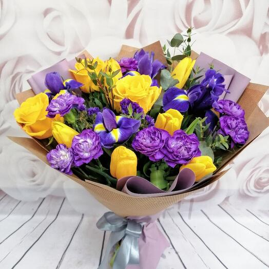 Bouquet with tulips and irises