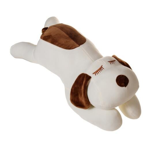 Плюшевый белый пятнистый пёсик 55 см