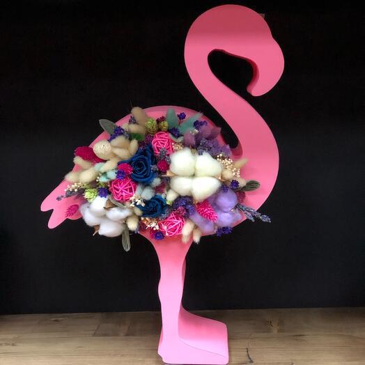 Композиция из сухоцветов «Фламинго»