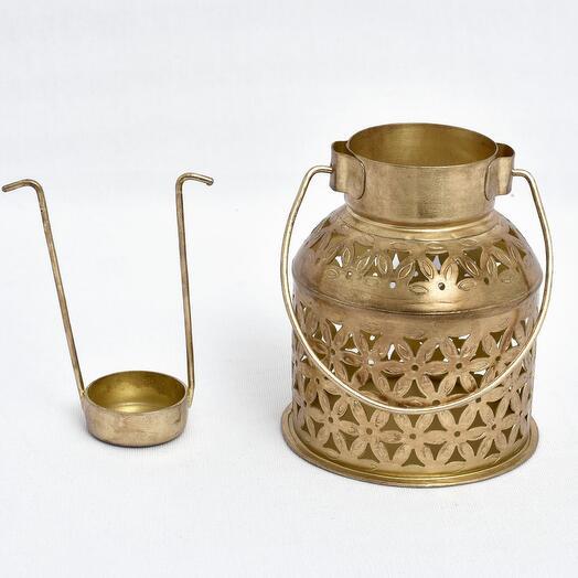 Металлический резной подсвечник бидона (латунь)(никель)(черное порошковое напыление) (Цвет-Латунь)