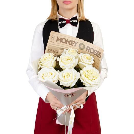 """Сливочные розы в букете """"Злата"""" в стильном брендированном оформлении"""