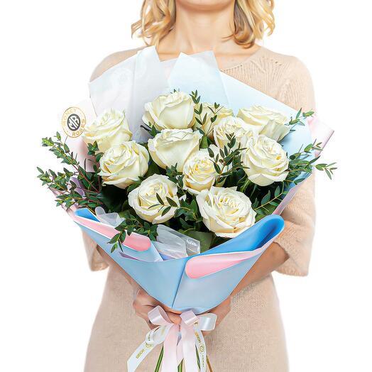 """11 розы в нежном оформлении """"Оттепель"""""""