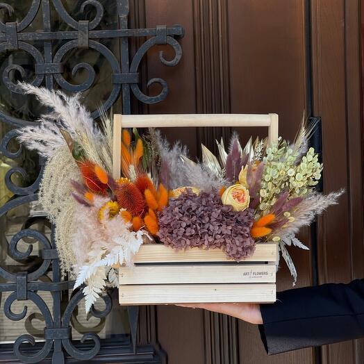 Ящик с сухоцветами «Тёплая осень»