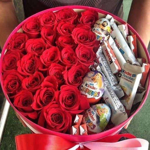 Чудесный сюрприз из красных роз