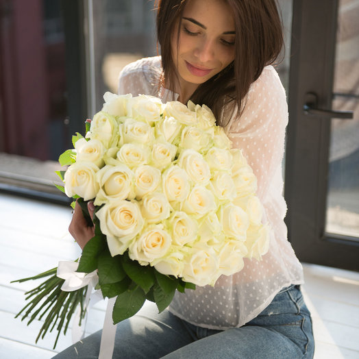 """A bouquet of white roses 33"""", Avalani"""": flowers to order Flowwow"""