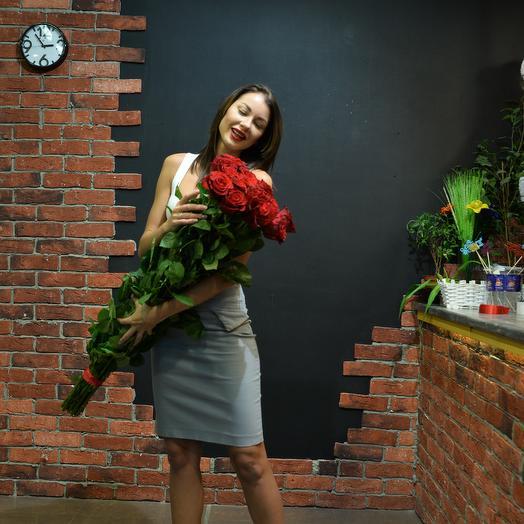 Роза 100 см 15 штук в букете (Эквадор): букеты цветов на заказ Flowwow