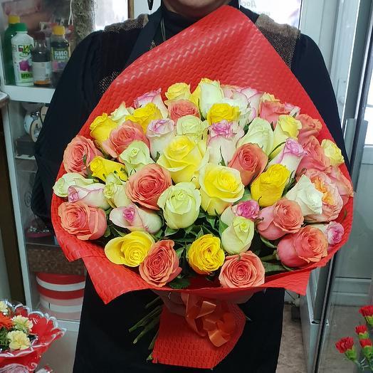 51 роза Кения 40см микс