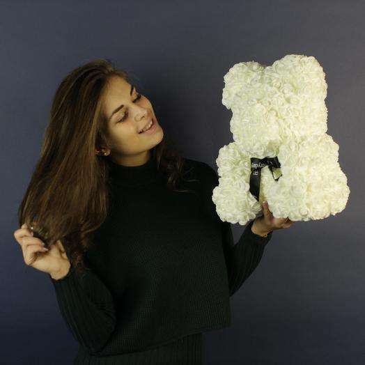 Мишка из белых розочек: букеты цветов на заказ Flowwow