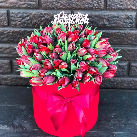 Букет из 101 тюльпаны «Эмоции»: букеты цветов на заказ Flowwow