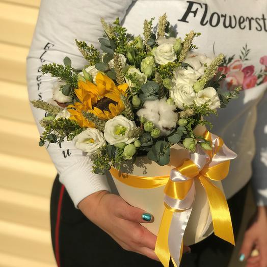 Коробки с цветами. Эустома с подсолнухом. N571: букеты цветов на заказ Flowwow