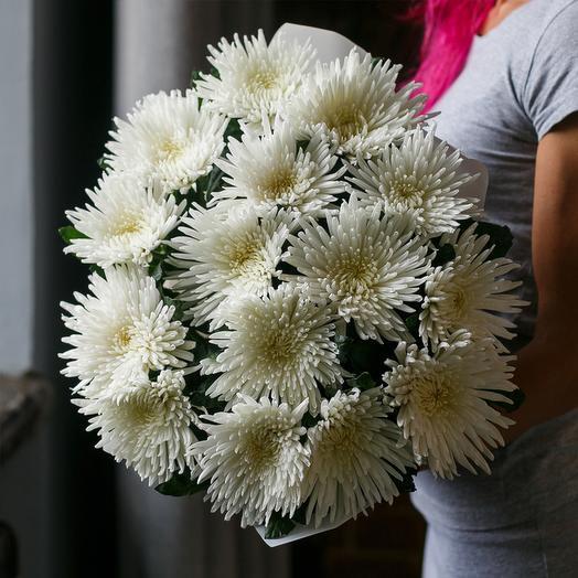 """Букет из """"15 одноголовых белых хризантем"""": букеты цветов на заказ Flowwow"""