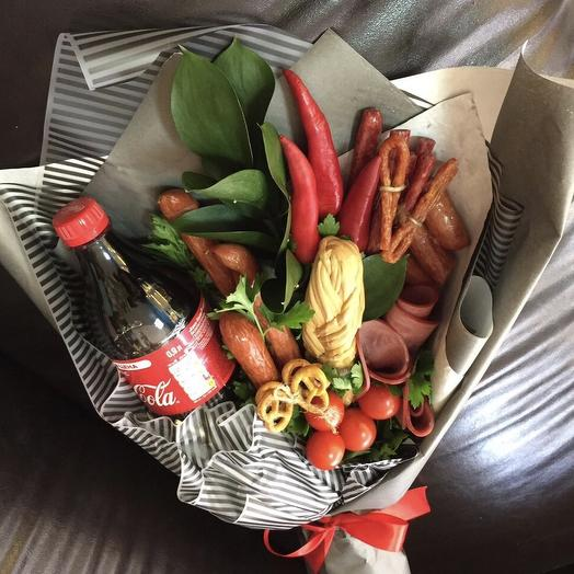 A bouquet of sausages and cheese