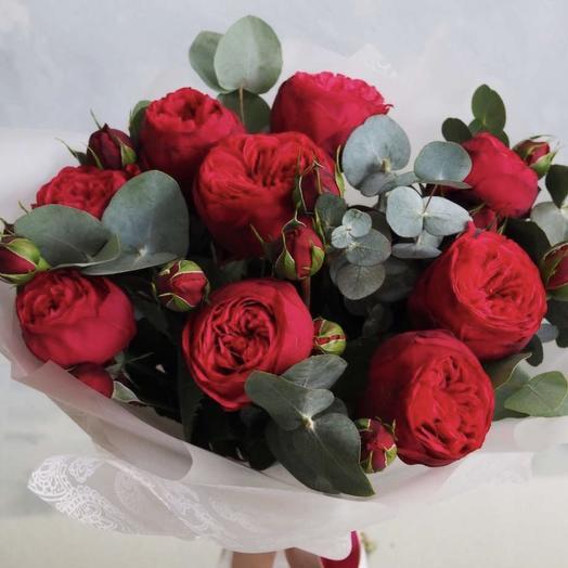 Роза пион красная Ред Пиано