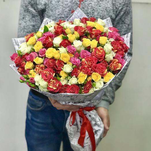 39 кустовых роз микс: букеты цветов на заказ Flowwow