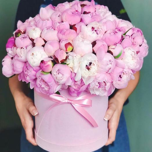 Пионы сара бернар в шляпной коробке: букеты цветов на заказ Flowwow