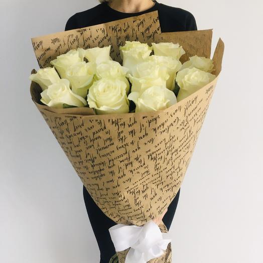 """Букет из белых роз """"Мондиаль"""""""