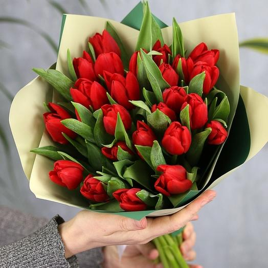 25 тюльпанов (цвет тюльпанов на выбор): букеты цветов на заказ Flowwow