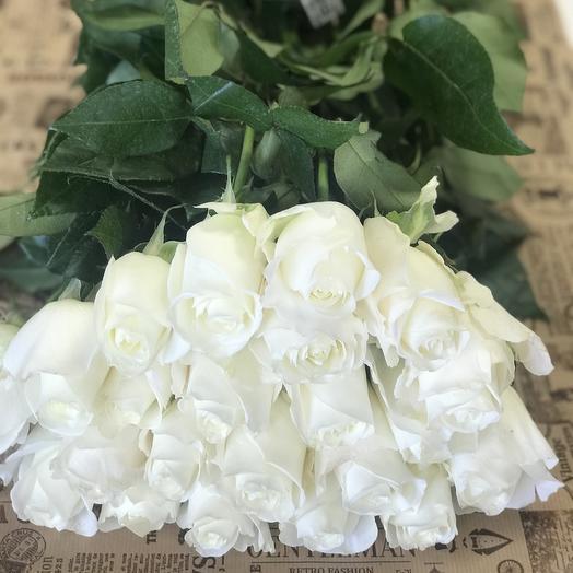 25 белых роз Премиум сорт