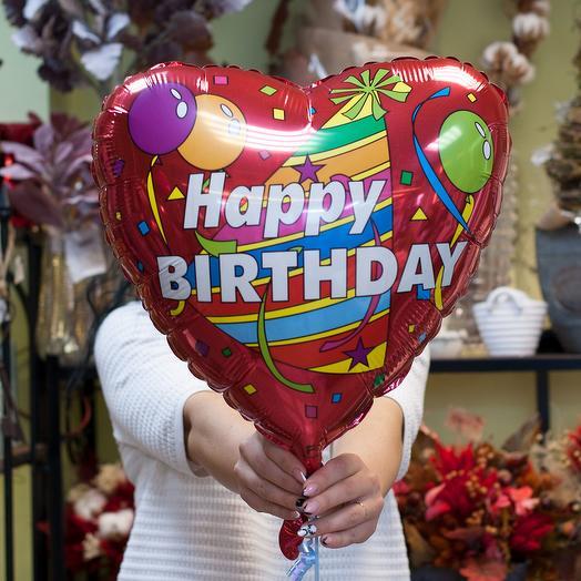 Фольгированный воздушный шарик-сердечко Happy bithday