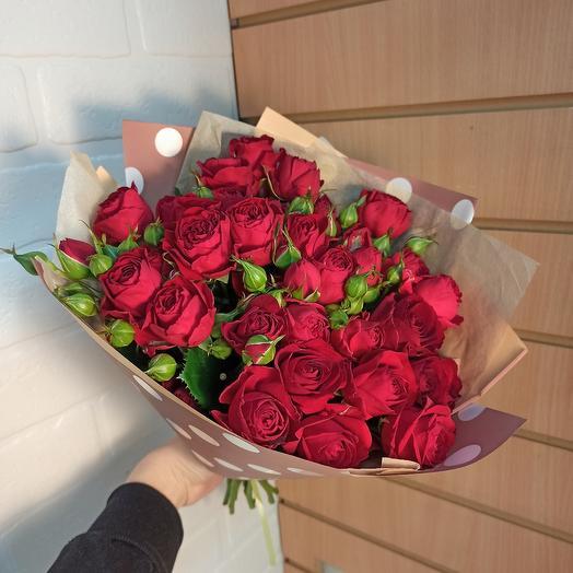 Шикарный букет роз бордо
