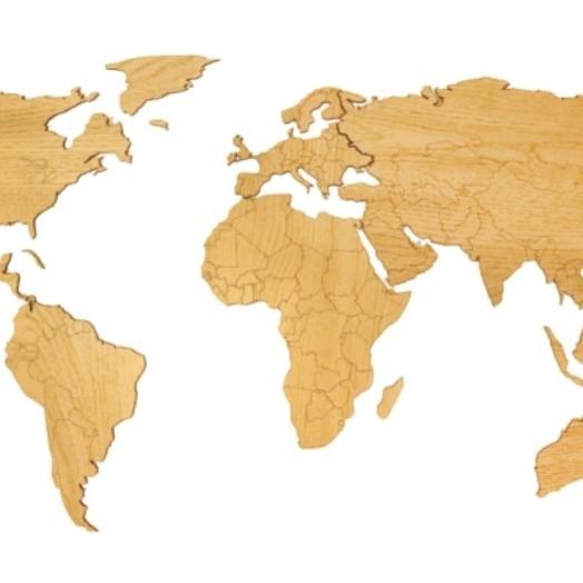 Деревянная карта мира 80х40 см (Дуб)