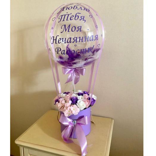 Мыльные цветы  в коробке с шаром баблс