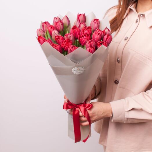 Монобукет из пионовидных тюльпанов (31 шт.)