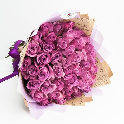 Букет из 51 сиреневой розы (40см)