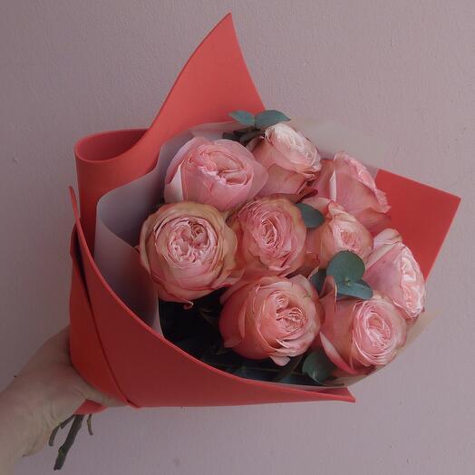 Peony rose cajala and fragrant eucalyptus