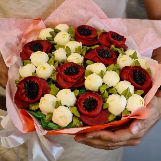 Букет цветочных капкейков маки и мини пионы 15 шт