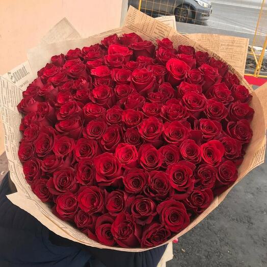 101 премиальная эквадорская роза 80см