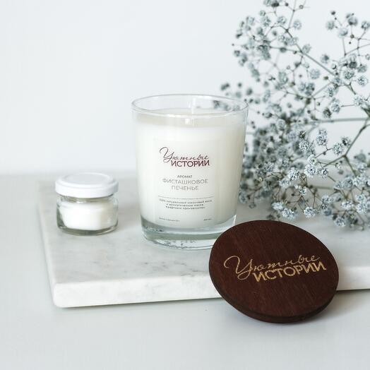 Ароматическая свеча с ароматом фисташкового печенья 200 мл + минисвеча в подарок