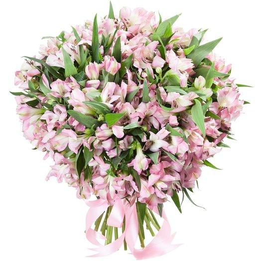 Букет из 100 розовых альстромерий: букеты цветов на заказ Flowwow