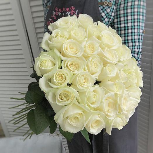 Букет из 35 белых роз 50 см: букеты цветов на заказ Flowwow