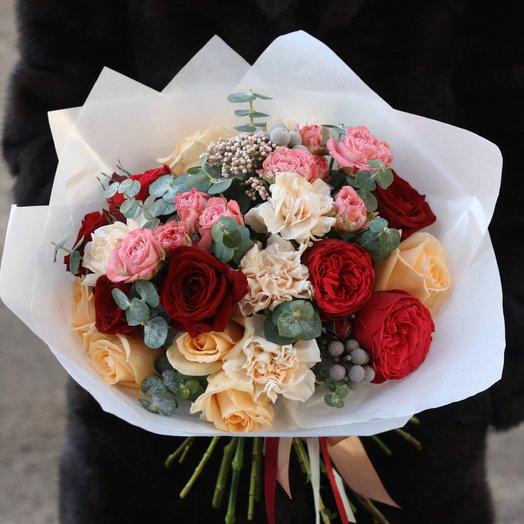 RED: Шикарный с пионовидной розой: букеты цветов на заказ Flowwow