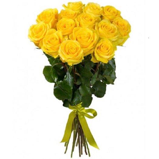 Букет 15 жёлтых роз