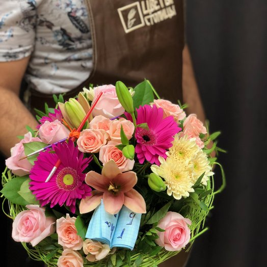 Розовый школьный букет Цветы столицы: букеты цветов на заказ Flowwow