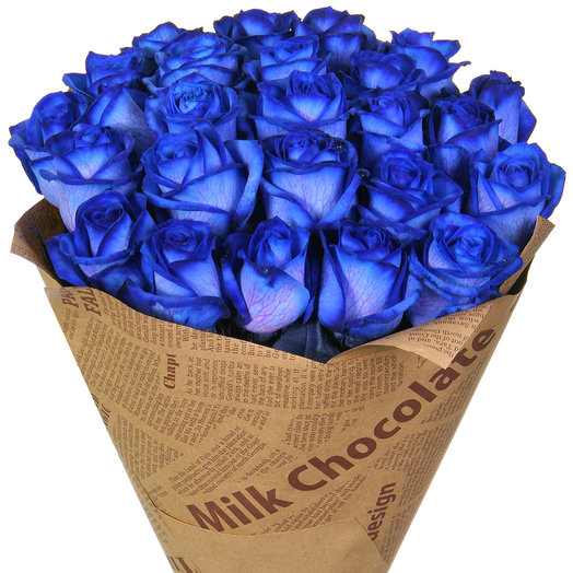 A bouquet of 25 blue roses