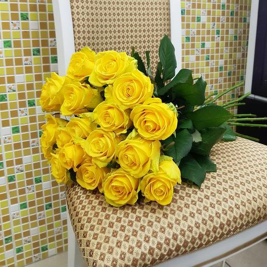 Желтые розы 19 шт: букеты цветов на заказ Flowwow