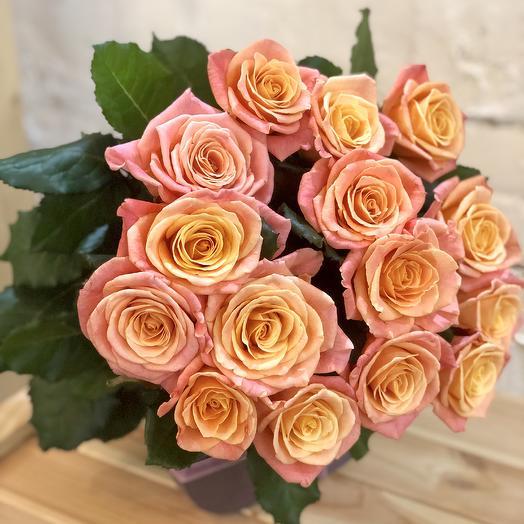 15 лососевых роз Мисс Пигги: букеты цветов на заказ Flowwow