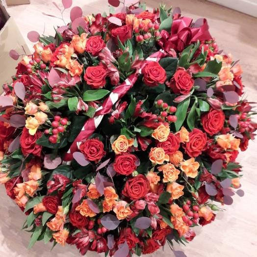 Красно-оранжевый микс: букеты цветов на заказ Flowwow