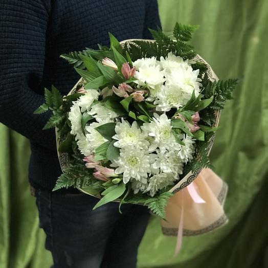 Букет хризантем и альстромерий: букеты цветов на заказ Flowwow